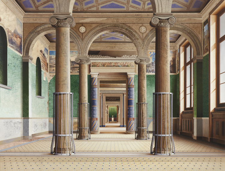 'Roman Room' (2014, acrylic on canvas, 71 x 93in / 180 x 237cm): depiction of the Neues Museum (Berlin) by David Chipperfield Architects & Julian Harrap. Image © Ben Johnson