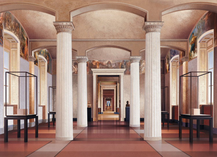 'Fatherland Room' (2014, acrylic on canvas, 71 x 93in / 180 x 237cm): depiction of the Neues Museum (Berlin) by David Chipperfield Architects & Julian Harrap. Image © Ben Johnson