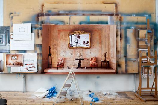 Studio setting: 'Room of the Revolutionary' (2014, acrylic on canvas, 89 x 59in / 225 x 150cm). Image © Ben Johnson