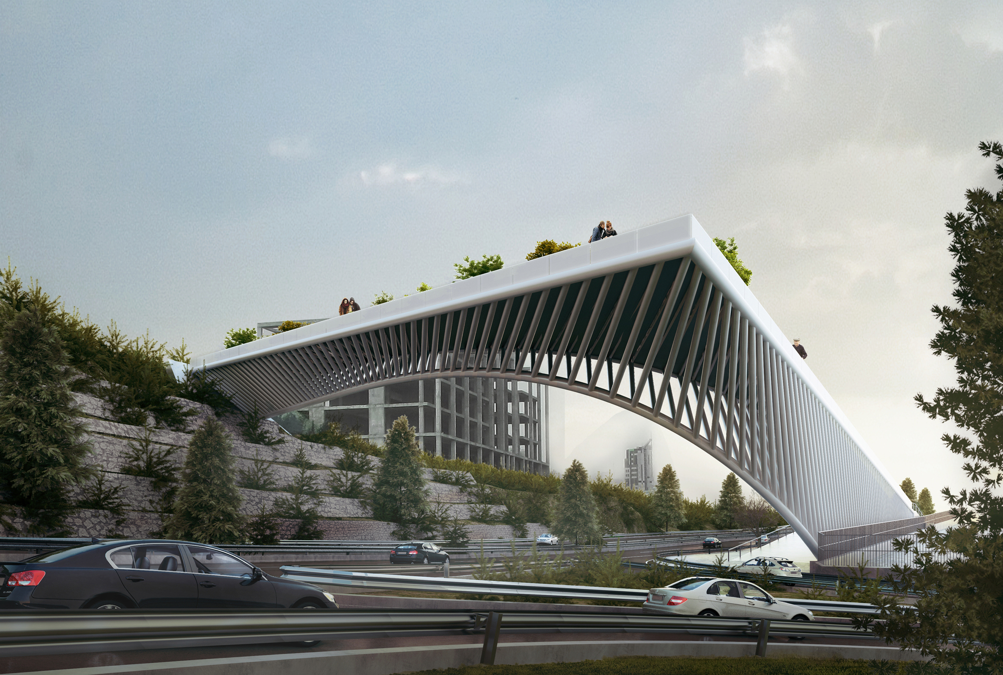 3rd skin architects 39 haghani pedestrian bridge folds over for Design bridge amsterdam
