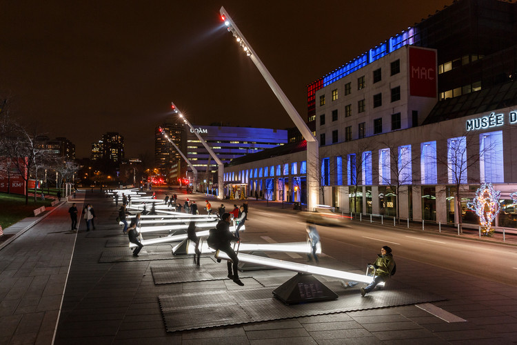 """Impulse"" Installation Turns Montreal into a Musical Playground, Musical Seesaws at the Place Des Festivals. Image © Ulysse Lemerise"