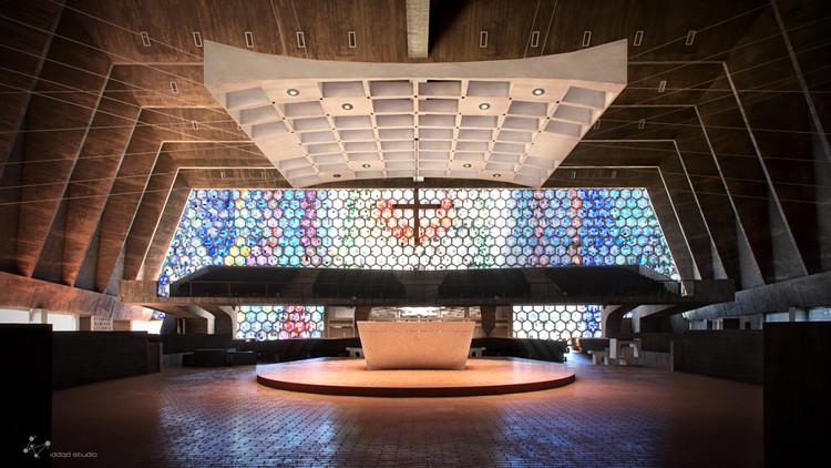Recreación virtual de St. John's Abbey Church de Marcel Breuer, © iddqd studio