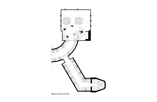Plan of the Millennium Falcon. Image Courtesy of INTERIORS Journal