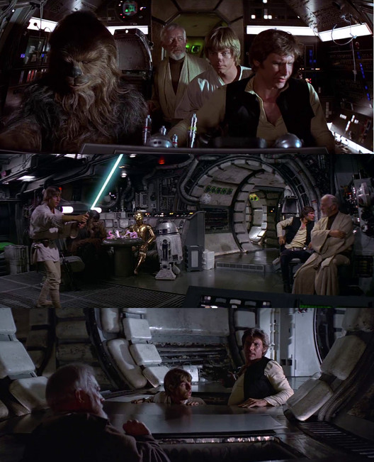 Screenshots from Millennium Falcon scene. Image Courtesy of INTERIORS Journal