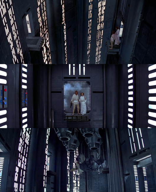 Screenshots from Death Star scene. Image Courtesy of INTERIORS Journal