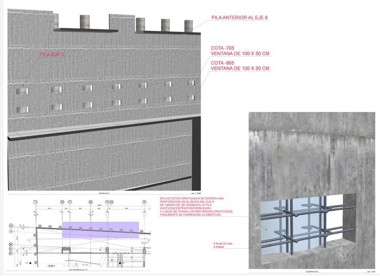 Edificio Beauchef Poniente. Modelación y visualización de estructura: anclaje de muro y pilas