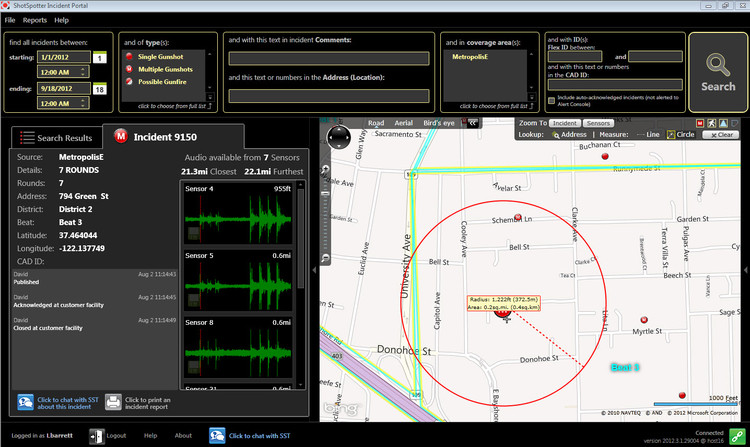 Shotspotter App. Image © ShotSpotter Gunshot Detection and Location Service