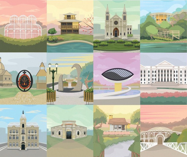These Colorful Illustrations Bring Curitiba's Landmarks to Life, © Maycon Prasniewski