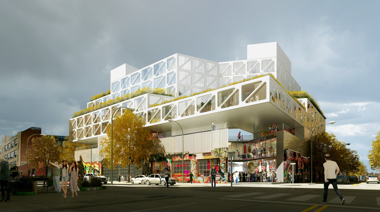 Exterior Rendered View. Image Courtesy of ODA New York