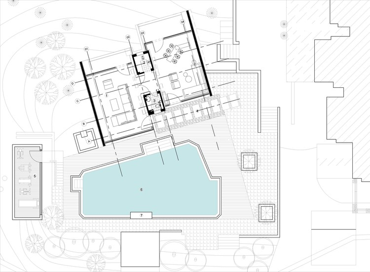 Pool house 42mm architecture archdaily for Swimming pool site plan