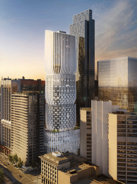 "Zaha Hadid's First Tower in Melbourne Described as a Series of ""Stacked Vases"", 582-606 Collins Street. Image © ZHA"