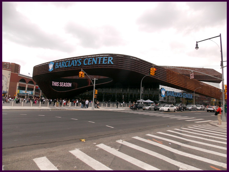 What would Jane Jacobs have thought of the Barclays Center, designed by SHoP Architects, part of the Atlantic Yards development in Brooklyn. Image © Flickr user otto-yamamoto, licensed under CC BY-SA 2.0, via Commons