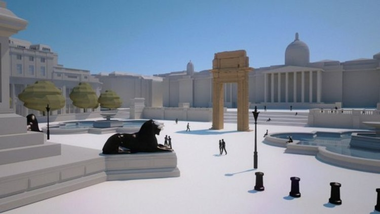 Rendering of the arch's position in Trafalgar Square, London. Image © IDA