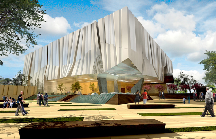 Alajajian Marcoosi Architects Propose Armenian American Museum for California, Exterior Rendered View. Image Courtesy of Alajajian Marcoosi Architects