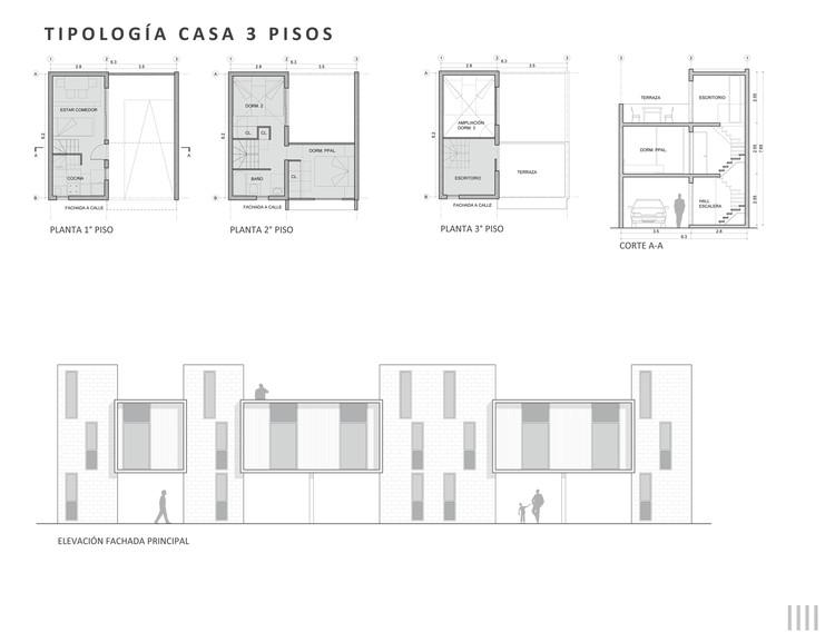 Tipología: casa de tres pisos