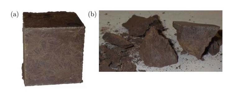 "The sulfur-based concrete before and after a compression test, in which the material achieved a strength of 50 MPa. Image via screenshot from paper ""A Novel Material for In Situ Construction on Mars."""