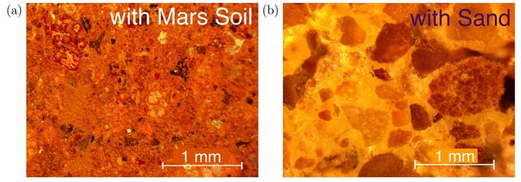 "Microscopic image of the material's structure, compared to a similar mix made with sand. Image via screenshot from paper ""A Novel Material for In Situ Construction on Mars."""