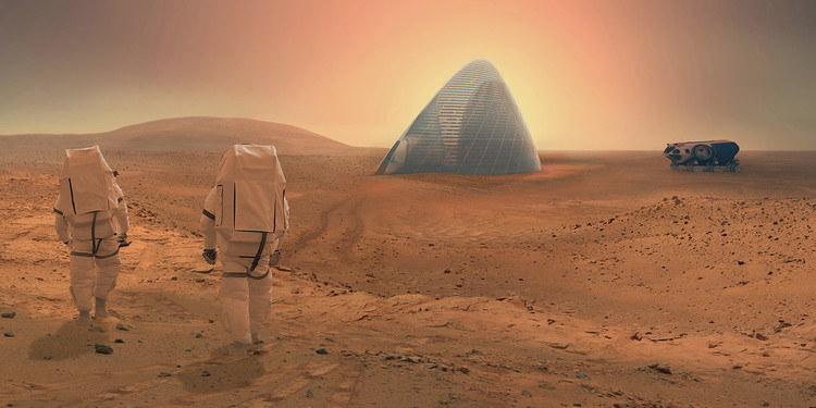 Will This Be the Concrete Used to Build on Mars?, Clouds AO and SEArch won NASA's Mars Habitat Competition with a 3D-printed house made of ice; would Martian concrete have been a simpler option?. Image © Clouds AO and SEArch