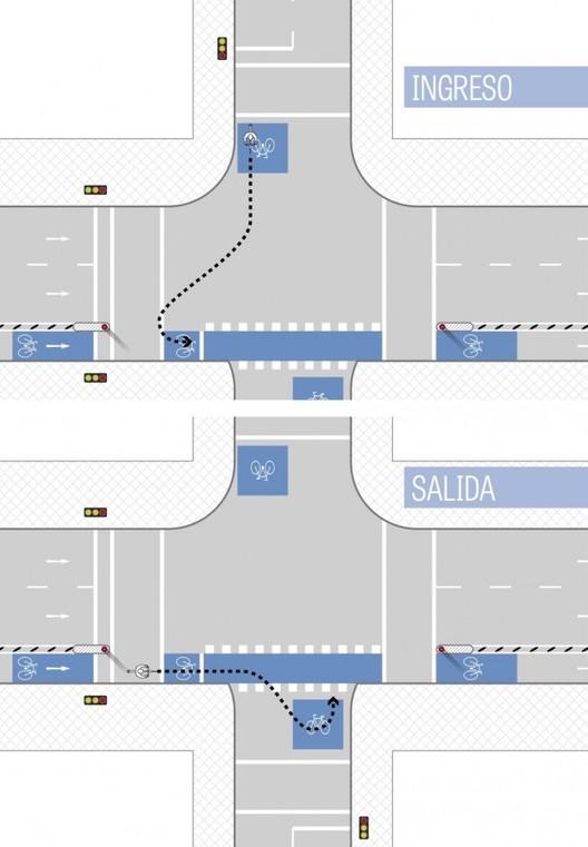 Ingreso y salida de bicibox. Image © Manual de Vialidad Ciclo-Inclusiva, Minvu