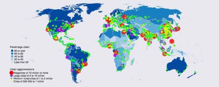 Los patrones ambientales, económicos y demográficos de crecimiento urbano en el mundo, © ONU