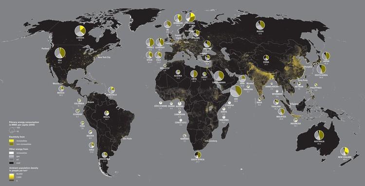 Consumo de energía por países. Image © ONU