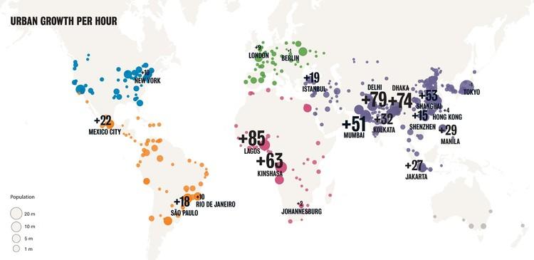 Crecimiento demográfico por hora. Image © ONU