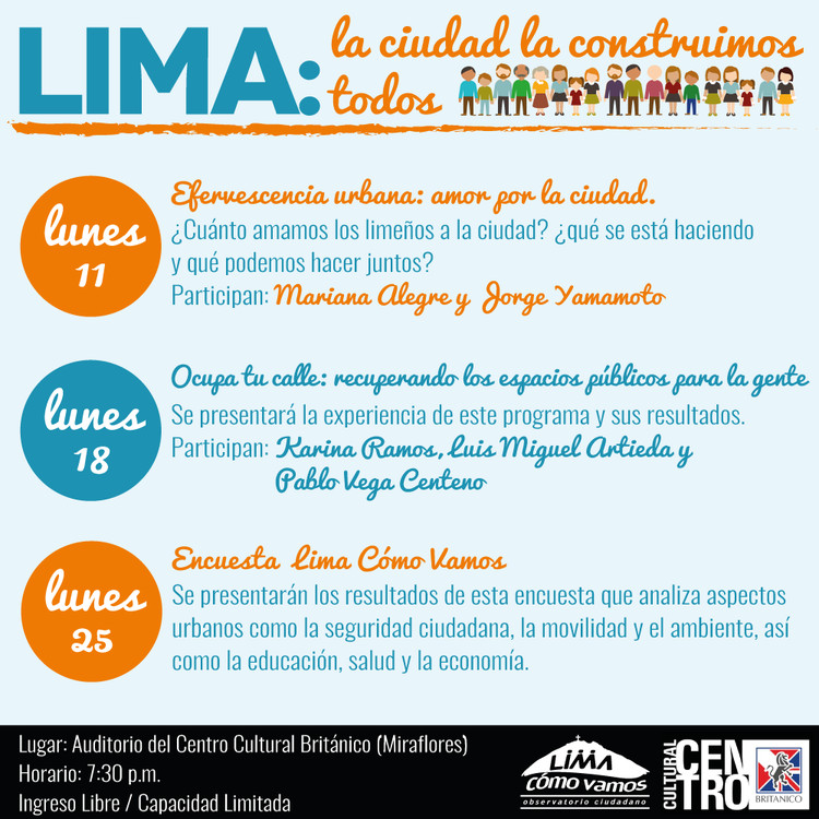 """Ciclo de conversatorios """"Lima: la ciudad la construimos todos"""", vía Lima como vamos"""