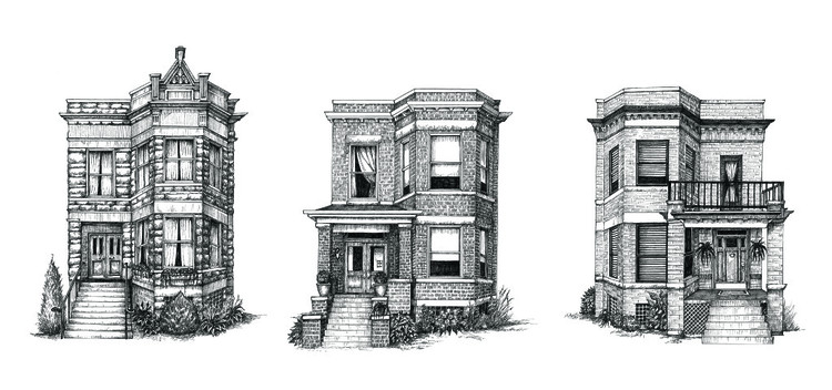 Cape Horn Illustration Creates Detailed Ink Drawings of Chicago Residences, © Cape Horn Illustration