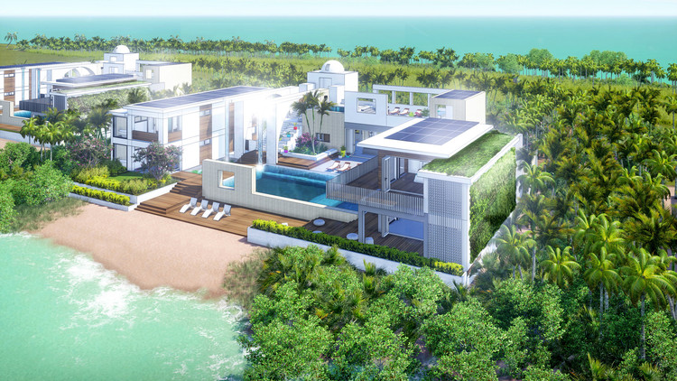 Some of the private homes that will form part of the Blackadore Caye development. The houses are expected to sell for between $5 million and $15 million. Image © McLennan Design via The New York Times