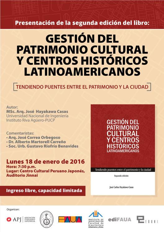 """Presentación del libro """"Gestión del Patrimonio Cultural y Centros Históricos Latinoamericanos"""", vía Editorial FAUA"""