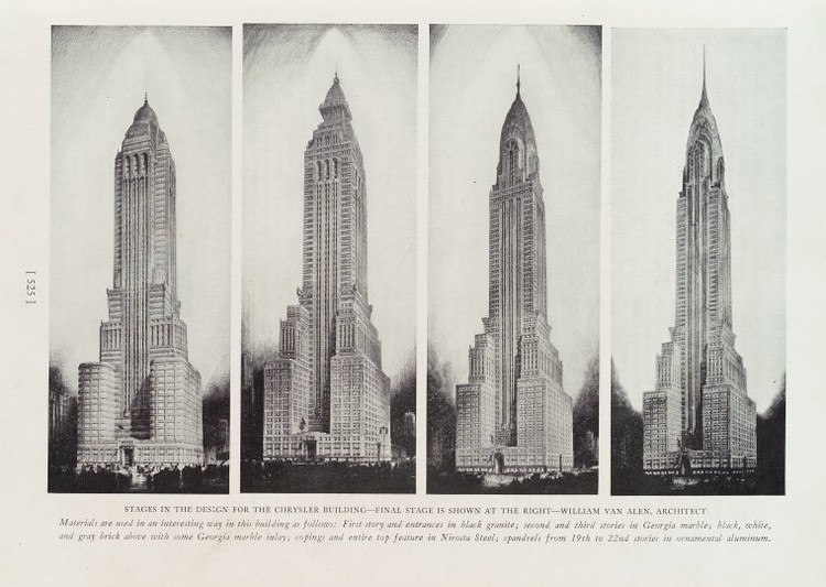 Design Development of the Chrysler Building. Image via The New York Public Library