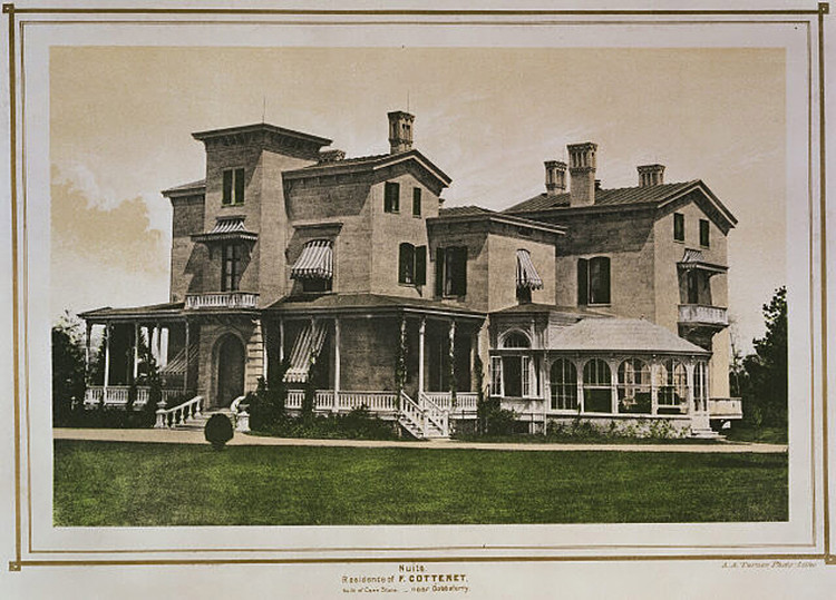 "Cottenet Residence, from ""Villas on the Hudson"". Image via The New York Public Library"