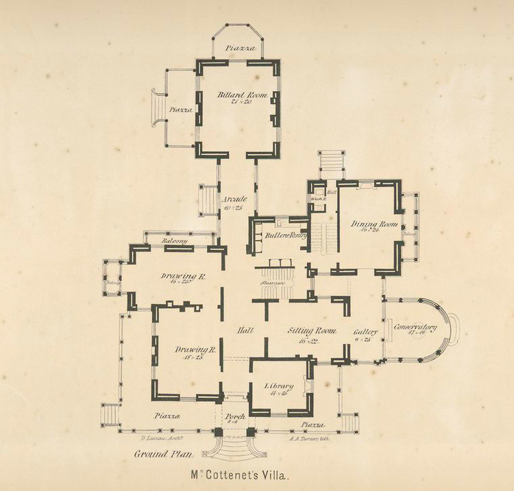 "Cottenet Residence plan, from ""Villas on the Hudson"". Image via The New York Public Library"