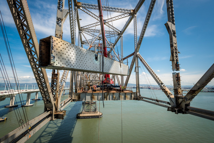 San Francisco's Bay Bridge being dismantled for use in the Bay Bridge Steel Program. Image © Sam Burbank