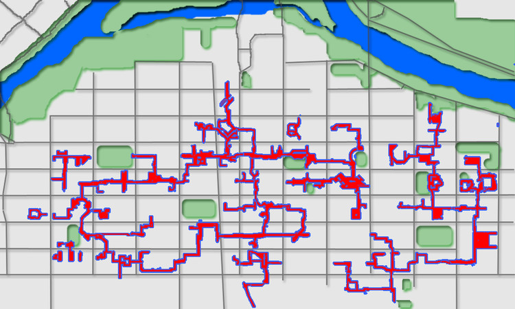 Map of Calgary's +15 Skyway Network. Image via Wikimedia Commons, Public Domain