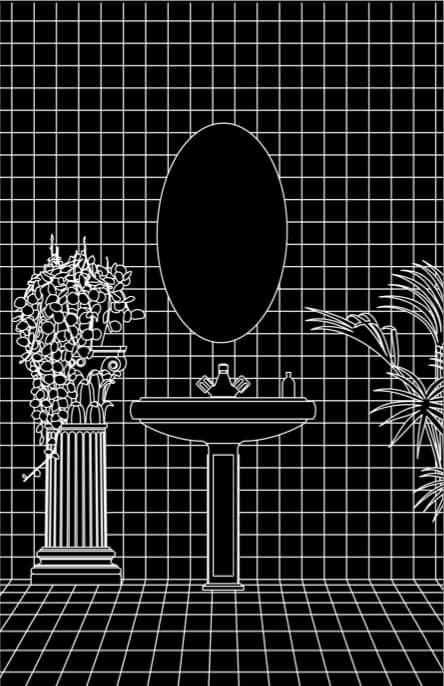 """Esta ilustración pertenece al estudio de un baño realizada para el arte del casset de No Problema Tapes """"The Void"""" del Artista Babexo. Image Cortesía de Fabiola Morcillo"""
