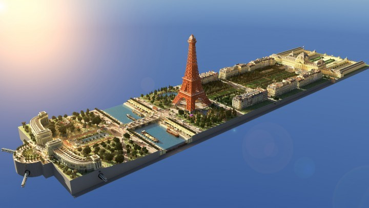 15 Incredible Architectural Feats Made in Minecraft, Model of the Eiffel Tower in Minecraft. Image via LanguageCraft