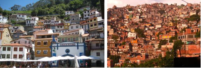 Figuras 1 y 2. Cudillero, (izquierda; Imagen © Adam Carter), y Favela en Río de Janeiro, (derecha; Imagen © Markus Bernet). Paradójicamente, la ciudad informal reproduce modelos similares a los de las ciudades y pueblos históricos. Los patrones de adaptación al medio, aprovechamiento de recursos disponibles, como el suelo y materiales, y la autogeneración de la construcción, genera morfologías equiparables entre ambos
