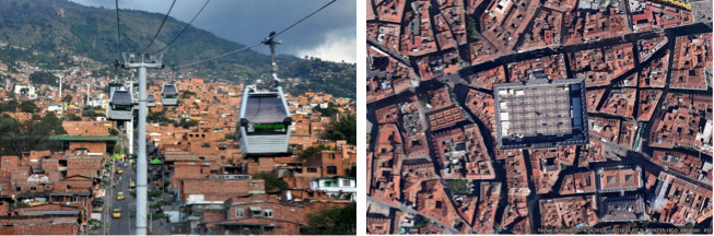 Figuras 6 y 7. Metrocable en Medellín (Imagen © Jorge Láscar), y Plaza Mayor  en Madrid (Imagen © Google Earth). Ambos proyectos, separados unos 400 años en el tiempo, comparten una visión de la técnica y la intervención pública equivalente: no totalizadora sobre el espacio urbano, sino puntual, enzimática y proactiva, para reanimar y equilibrar un continuo urbano orgánico y autoconstruido