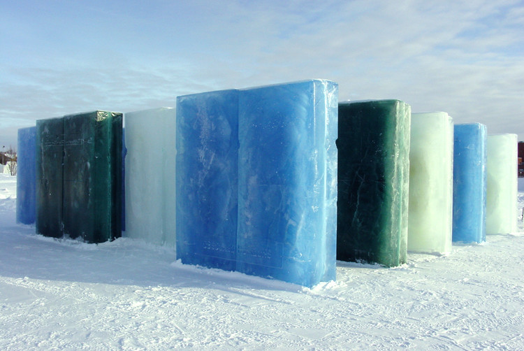 OBSCURE HORIZONS- Lawrence Weiner & Enrique Norten. The Snow Show, Lapland, 2003 and 2004. Image Courtesy of Fung Collaboratives, Photo Credit: Jeff DeBany