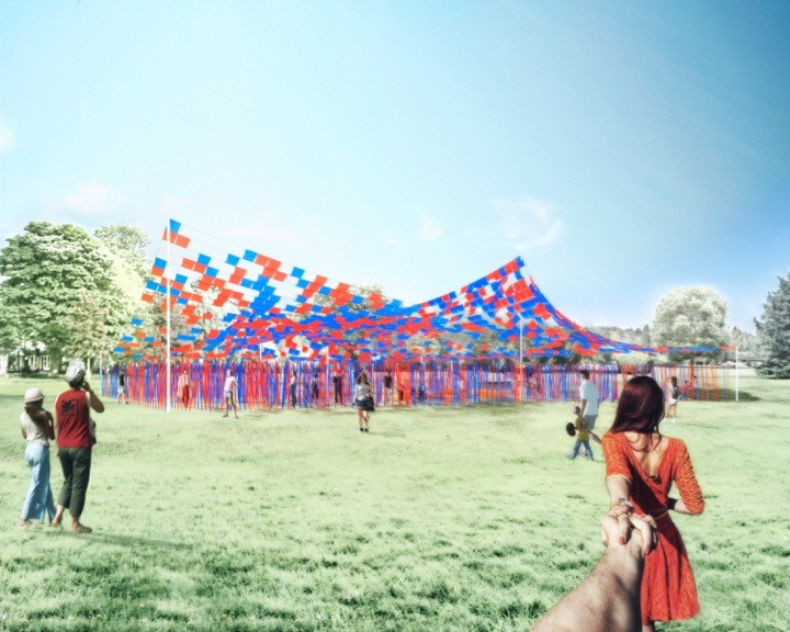 Pavilion Made Out of Recycled Coat Hangers to Be Constructed on Governors Island, Catch Me If You Can. Image Courtesy of FIGMENT