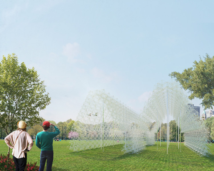 Pavilion Made Out of Recycled Coat Hangers to Be Constructed on Governors Island, Hanger Barn. Image Courtesy of FIGMENT