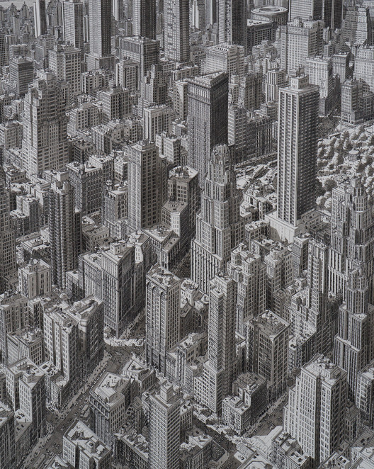 Stefan Bleekrode's Drawings Recreate Cityscapes from Memory, Manhattan, New York. Image © Stefan Bleekrode