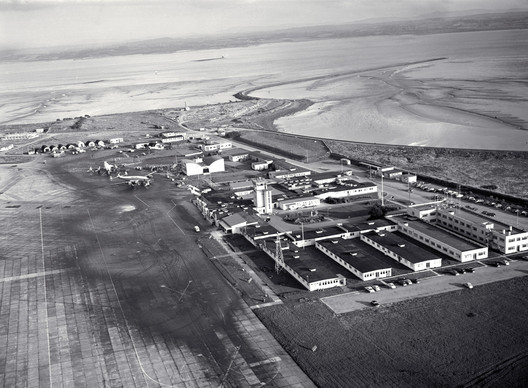 Aerial photograph of Shannon Airport (1959) set within its rural context. Image Courtesy of Shannon Group plc