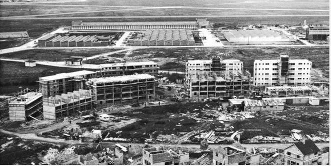 Drumgeely Apartments for the new workers under construction in 1960. The new Shannon Free Zone is in the background.. Image Courtesy of Shannon Group plc