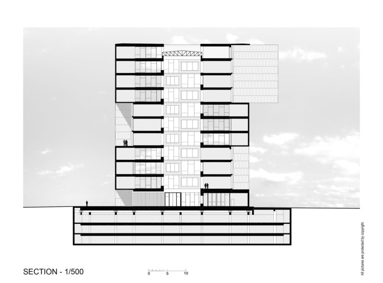 Section drawing of Innovation Center UC - Anacleto Angelini