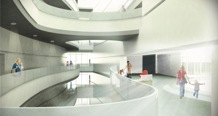 Munroe Meyer Institute, Atrium Rendering, Design: Melissa Hywood. Image Courtesy of College of Architecture University of Nebraska–Lincoln