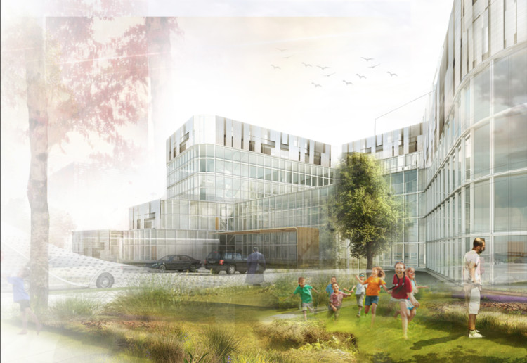 Munroe Meyer Institute, Exterior Rendering, Design: Lily Cai & Phuong Nguyen. Image Courtesy of College of Architecture University of Nebraska–Lincoln
