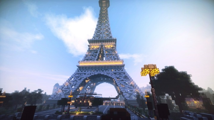 Surrounding area of the Eiffel Tower in Minecraft. Image via LanguageCraft