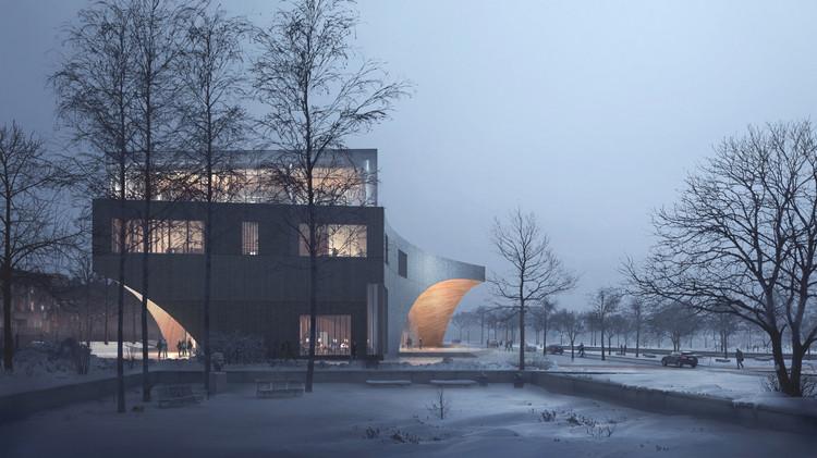 Snøhetta diseña nueva biblioteca para Universidad Temple en Filadelfia, Vista hacia el norte desde el jardín del fundador. Image © Snøhetta